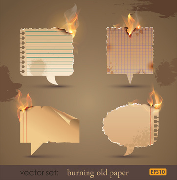 set of burning old paper design vector