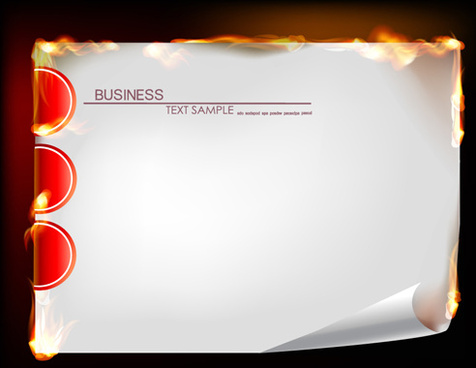 set of burning paper backgrounds vector