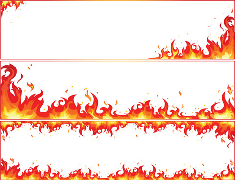 set of burning paper vector art