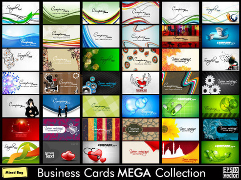 set of business cards design elements vector