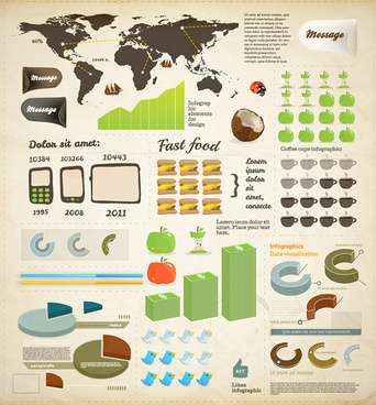 set of business infographics elements vector