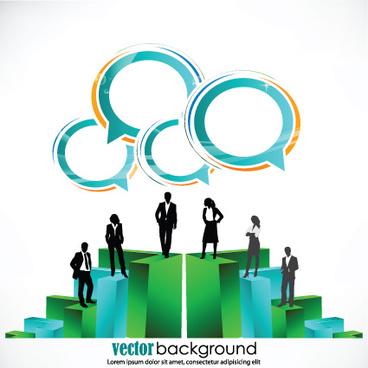 set of business talk vector backgrounds art