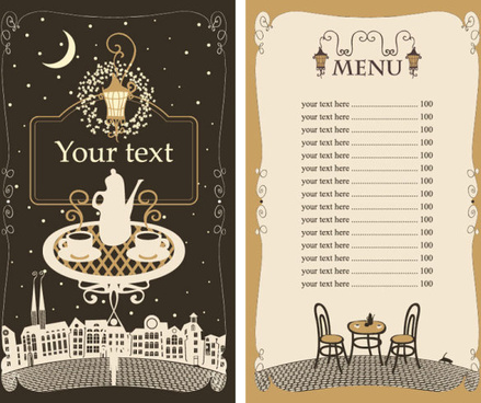 Restaurant menu cover template ribbon circle checkered decor free.