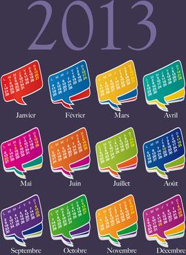 set of calendar grid13 design vector