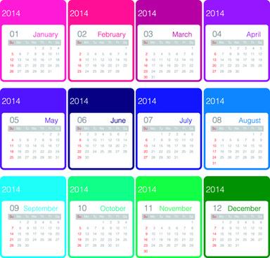set of calendars14 creative design vector