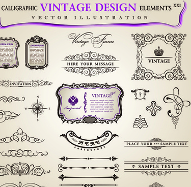 Set Of Calligraphic Vintage Borders And Label Vector