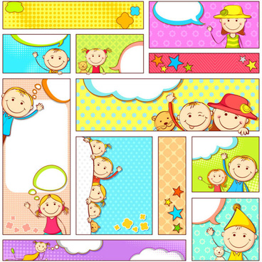 set of cartoon baby elements vector