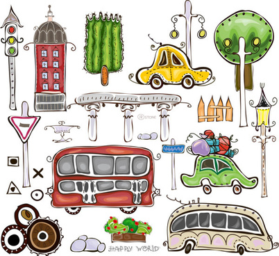 set of cartoon city elements vector