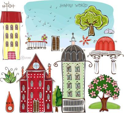 set of cartoon city elements vector