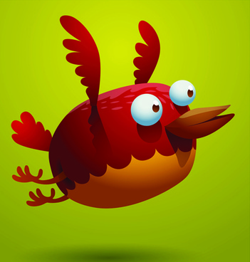 set of cartoon funny bird vector