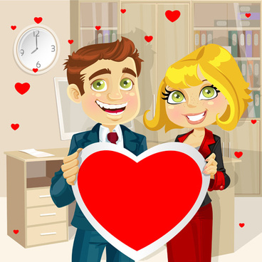 set of cartoon people and hearts vector
