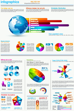 set of chart and infographics design elements vector