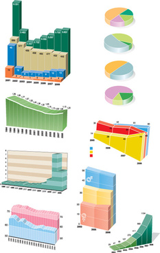 set of chart and infographics vector