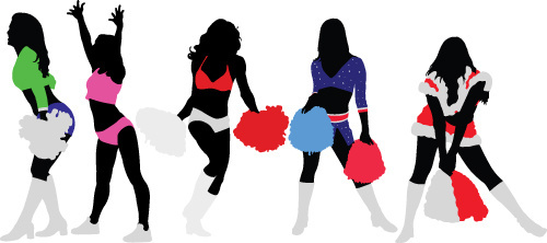 set of cheerleaders vector silhouettes