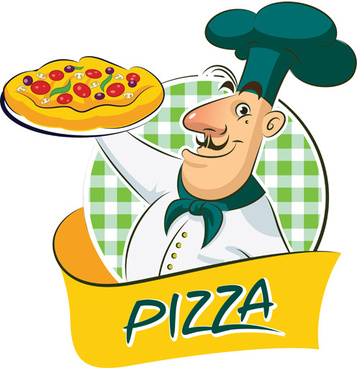 set of chef with pizza design vector