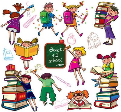 set of children in school design vector