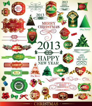 set of christmas accessories vector illustration