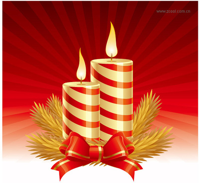 set of christmas candles design elements vector