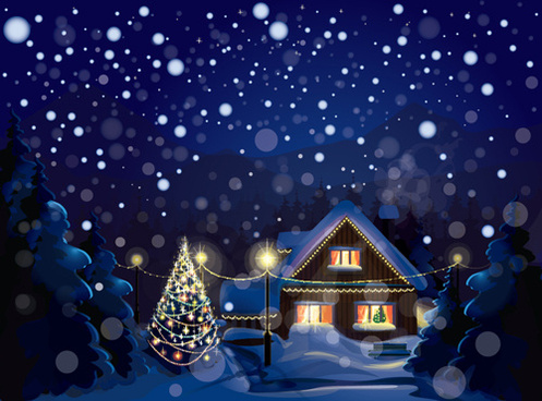 set of christmas night landscapes elements vector
