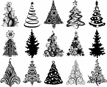 Set stylized christmas tree free vector