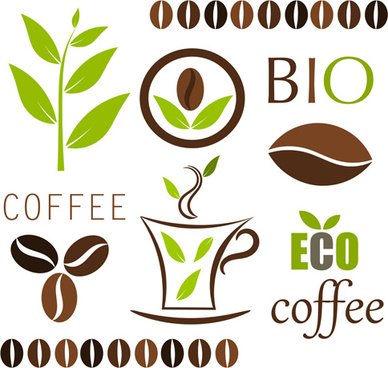 set of coffee logo design elements mix vector