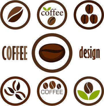 set of coffee logo design elements mix vector