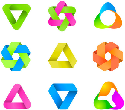 set of colored abstract logo design elements vector