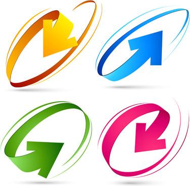 set of colored arrows vector