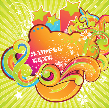 set of colored swirl vector backgrounds art