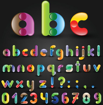 set of colorful alphabet and numbers design vector
