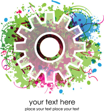set of colorful gear vector background