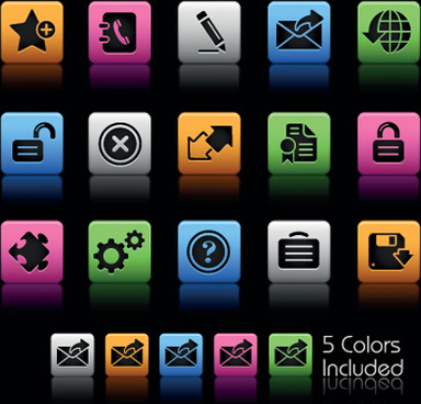 set of commonly web colorful icons vector