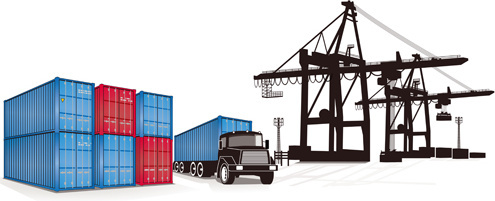 set of container shipping elements vector
