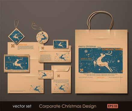 set of corporate christmas design kit vector