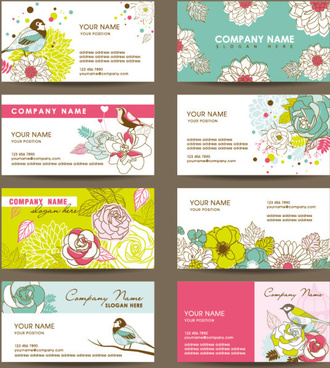 set of corporate identity kit cover with flower vector
