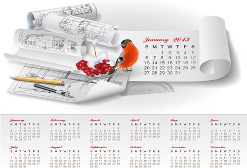 set of creative calendar13 design vector