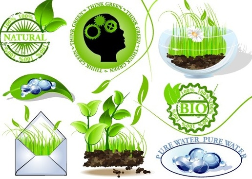 set of creative ecology labels vector graphics