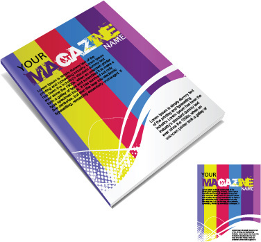 set of creative magazine cover design vector