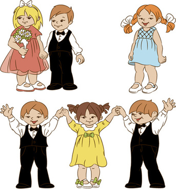 set of cute cartoon children vector