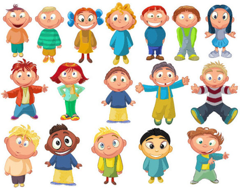 set of cute cartoon little child vector