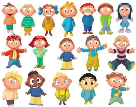 Set of cute cartoon little child vector