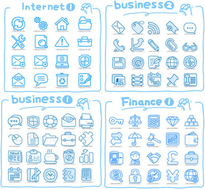 set of cute drawing icon vector