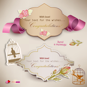 set of cute gift cards vector