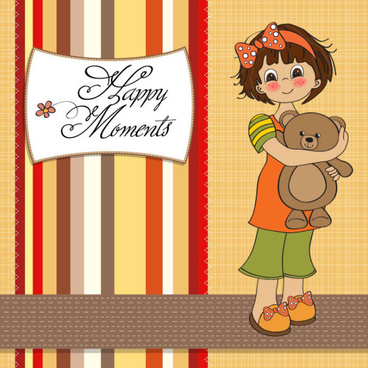 set of cute girl elements card vector