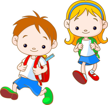set of cute school children design vector