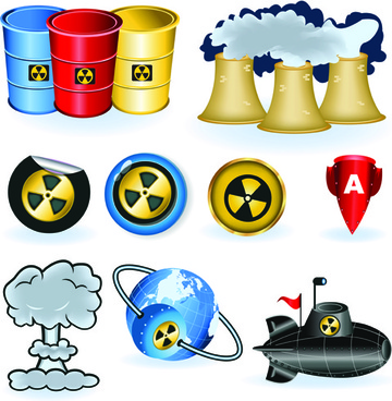 set of danger radiation symbols and icons vector
