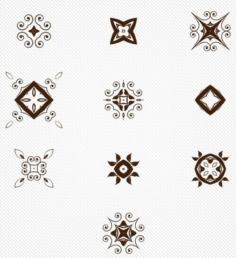 set of decorative pattern elements vector