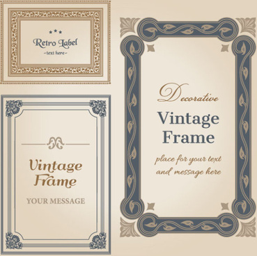 set of decorative vintage frame vector graphics