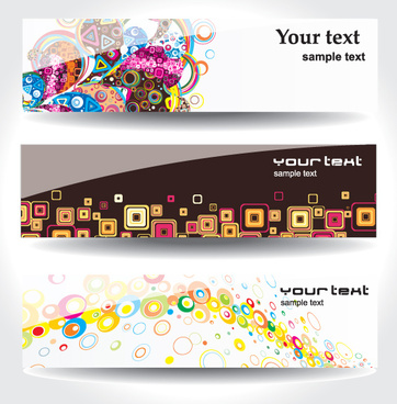 set of different abstract banners design vector
