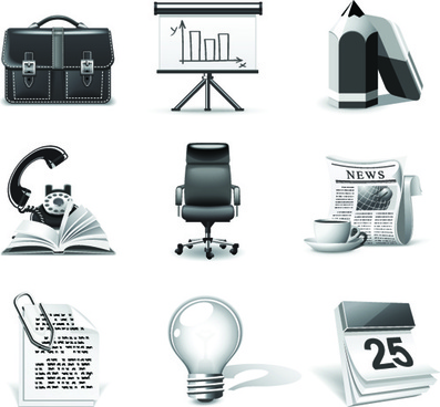 set of different b038w icons vector